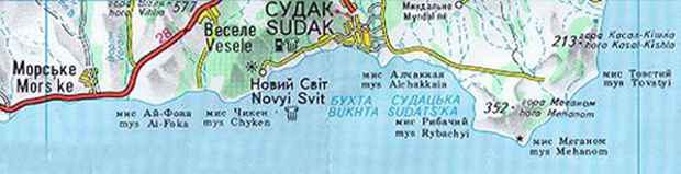 map of Sudak Bay